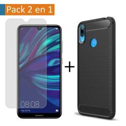 Pack 2 En 1 Funda Gel Tipo Carbono + Protector Cristal Templado para Huawei Y7 2019