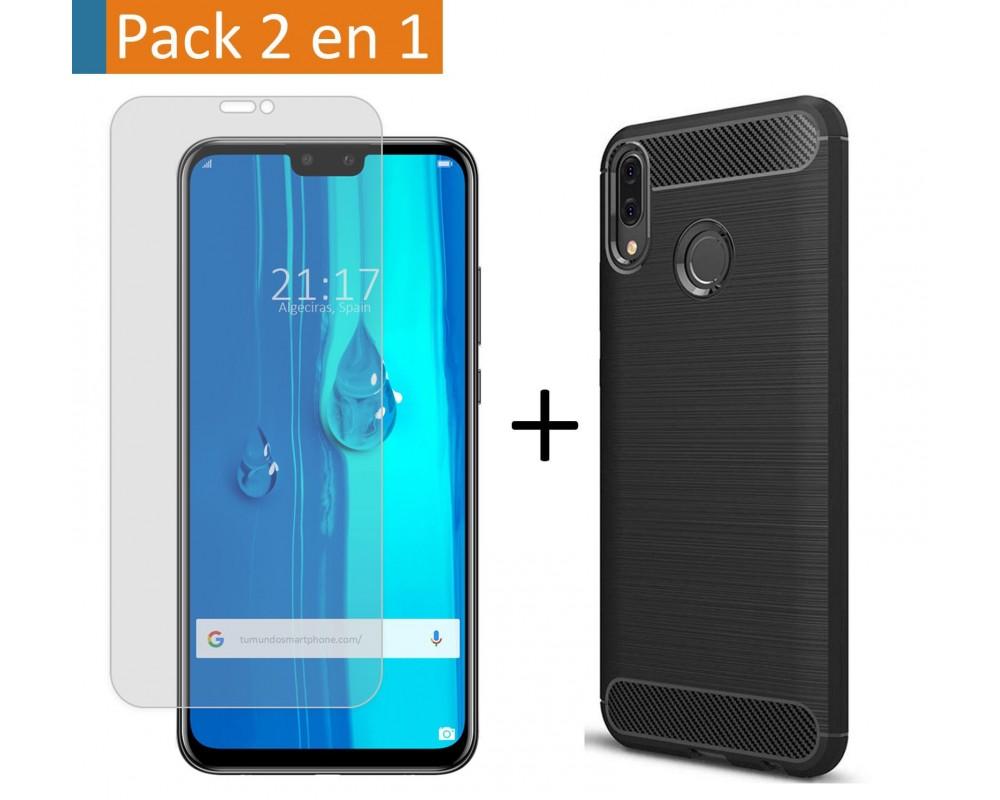 Pack 2 En 1 Funda Gel Tipo Carbono + Protector Cristal Templado para Huawei Y9 2019
