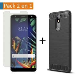 Pack 2 En 1 Funda Gel Tipo Carbono + Protector Cristal Templado para Lg K40