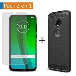 Pack 2 En 1 Funda Gel Tipo Carbono + Protector Cristal Templado para Motorola Moto G7 / G7 Plus