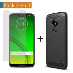 Pack 2 En 1 Funda Gel Tipo Carbono + Protector Cristal Templado para Motorola Moto G7 Power
