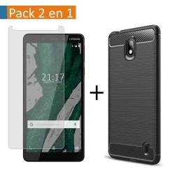 Pack 2 En 1 Funda Gel Tipo Carbono + Protector Cristal Templado para Nokia 1 Plus