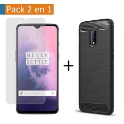 Pack 2 En 1 Funda Gel Tipo Carbono + Protector Cristal Templado para Oneplus 7