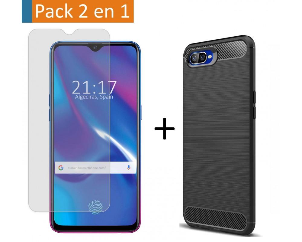 Pack 2 En 1 Funda Gel Tipo Carbono + Protector Cristal Templado para Oppo RX17 Neo