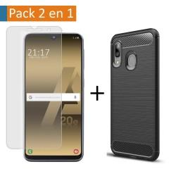 Pack 2 En 1 Funda Gel Tipo Carbono + Protector Cristal Templado para Samsung Galaxy A20e 5.8