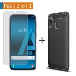 Pack 2 En 1 Funda Gel Tipo Carbono + Protector Cristal Templado para Samsung Galaxy A40