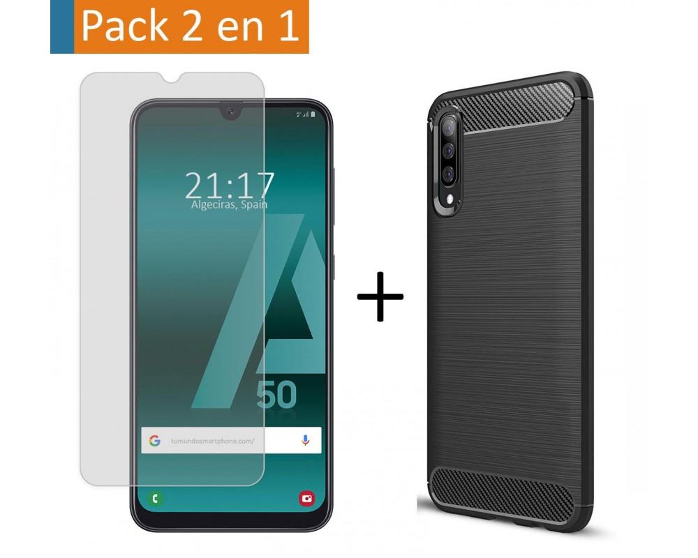 Pack 2 En 1 Funda Gel Tipo Carbono + Protector Cristal Templado para Samsung Galaxy A50 / A50s / A30s