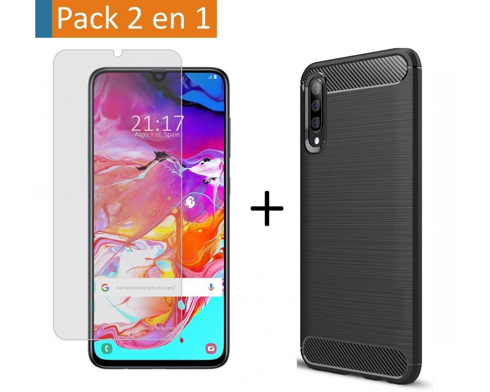 Pack 2 En 1 Funda Gel Tipo Carbono + Protector Cristal Templado para Samsung Galaxy A70