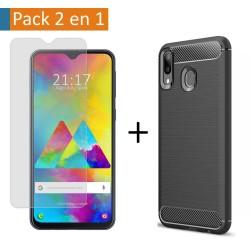 Pack 2 En 1 Funda Gel Tipo Carbono + Protector Cristal Templado para Samsung Galaxy M20