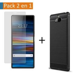Pack 2 En 1 Funda Gel Tipo Carbono + Protector Cristal Templado para Sony Xperia 10