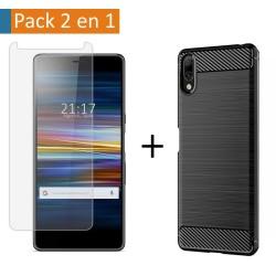 Pack 2 En 1 Funda Gel Tipo Carbono + Protector Cristal Templado para Sony Xperia L3