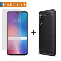 Pack 2 En 1 Funda Gel Tipo Carbono + Protector Cristal Templado para Xiaomi Mi 9