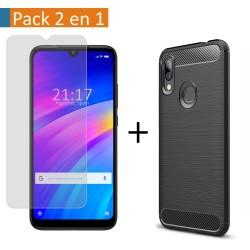 Pack 2 En 1 Funda Gel Tipo Carbono + Protector Cristal Templado para Xiaomi Redmi 7