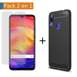 Pack 2 En 1 Funda Gel Tipo Carbono + Protector Cristal Templado para Xiaomi Redmi Note 7