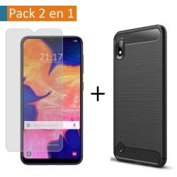 Pack 2 En 1 Funda Gel Tipo Carbono + Protector Cristal Templado para Samsung Galaxy A10
