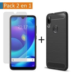 Pack 2 En 1 Funda Gel Tipo Carbono + Protector Cristal Templado para Xiaomi Mi Play