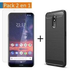 Pack 2 En 1 Funda Gel Tipo Carbono + Protector Cristal Templado para Nokia 3.2