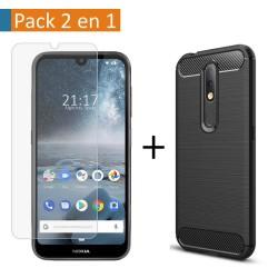 Pack 2 En 1 Funda Gel Tipo Carbono + Protector Cristal Templado para Nokia 4.2