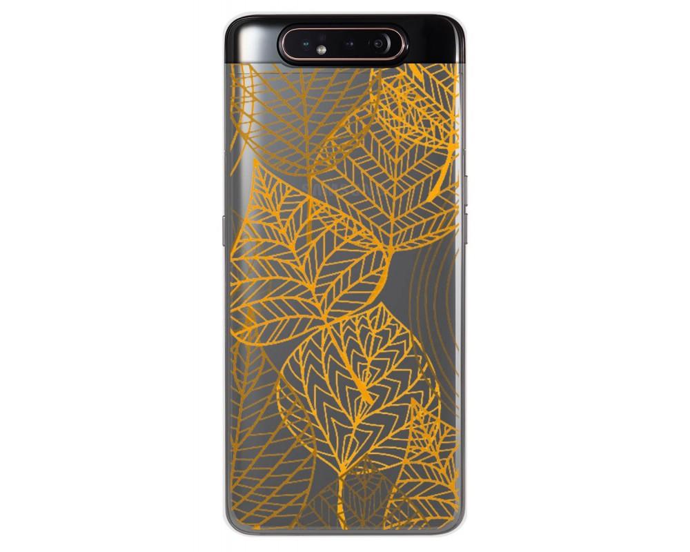 Funda Gel Transparente para Samsung Galaxy A80 diseño Hojas Dibujos