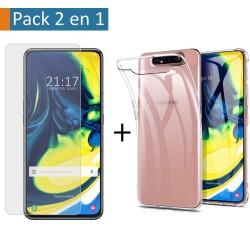 Pack 2 En 1 Funda Gel Transparente + Protector Cristal Templado para Samsung Galaxy A80