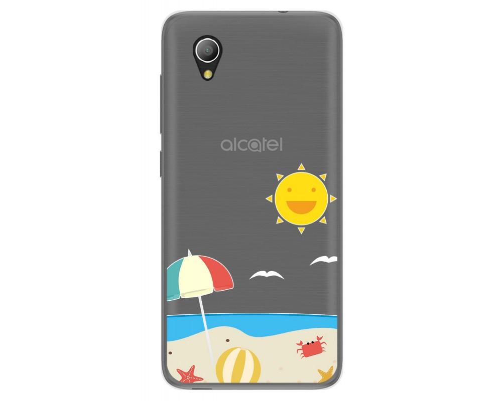 Funda Gel Transparente para Alcatel 1 diseño Playa Dibujos