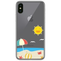 Funda Gel Transparente para Iphone  X / Xs diseño Playa Dibujos
