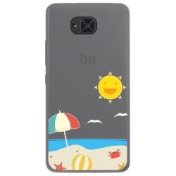 Funda Gel Transparente para Bq Aquaris U2 / U2 Lite diseño Playa Dibujos