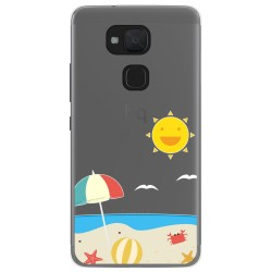 Funda Gel Transparente para Bq Aquaris V / Vs diseño Playa Dibujos