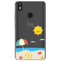 Funda Gel Transparente para Bq Aquaris X / X Pro diseño Playa Dibujos
