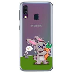 Funda Gel Transparente para Samsung Galaxy A40 diseño Conejo Dibujos