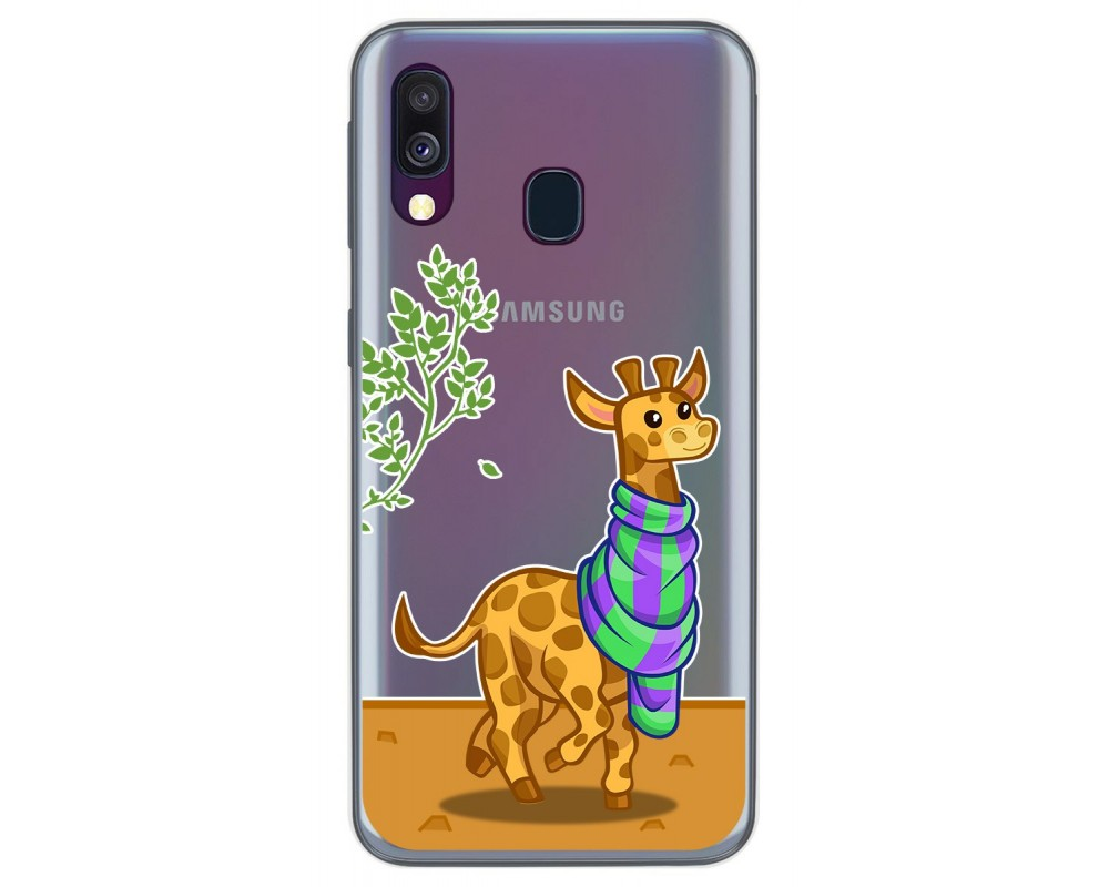 Funda Gel Transparente para Samsung Galaxy A40 diseño Jirafa Dibujos