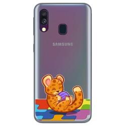 Funda Gel Transparente para Samsung Galaxy A40 diseño Leopardo Dibujos