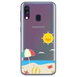 Funda Gel Transparente para Samsung Galaxy A40 diseño Playa Dibujos