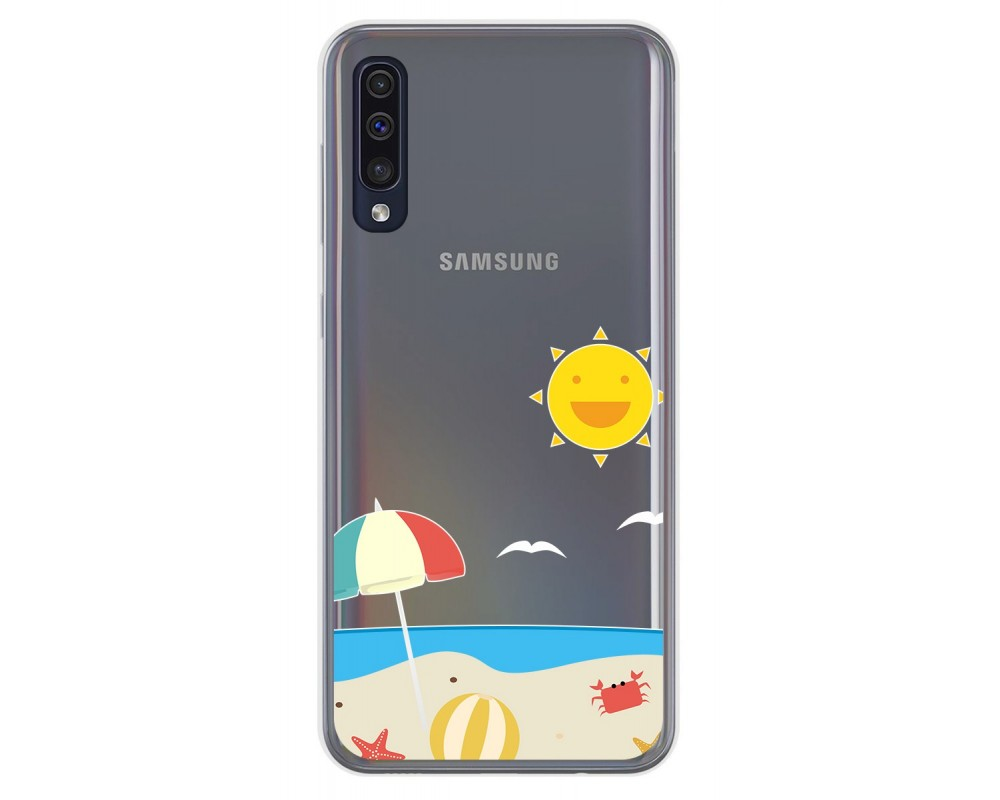Funda Gel Transparente para Samsung Galaxy A50 / A50s / A30s diseño Playa Dibujos