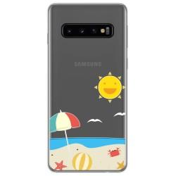 Funda Gel Transparente para Samsung Galaxy S10 diseño Playa Dibujos