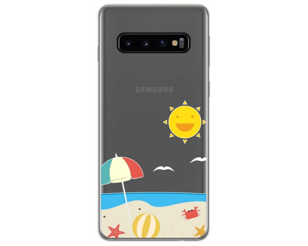 Funda Gel Transparente para Samsung Galaxy S10 Plus diseño Playa Dibujos
