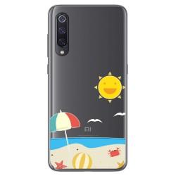 Funda Gel Transparente para Xiaomi Mi 9 diseño Playa Dibujos