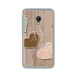 Funda Gel Tpu para Orange Rise 51 / Alcatel Pixi 4 (5) 4G / Vodafone Smart Turbo 7 Diseño Corazones Madera Dibujos