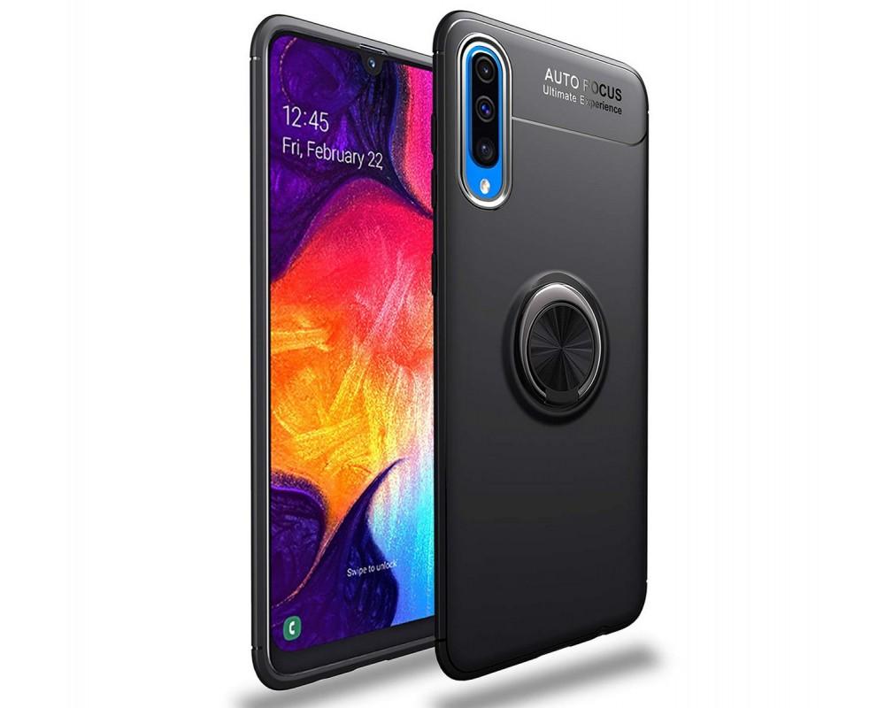 Funda Magnetica Soporte con Anillo Giratorio 360 para Samsung Galaxy A80 Negra