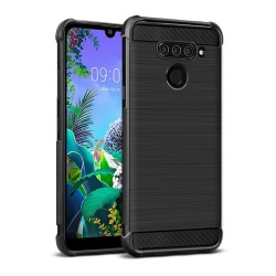 Funda Gel Tpu Anti-Shock Carbon Negra para Lg Q60 / K50