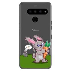 Funda Gel Transparente para Lg V50 ThinQ 5G diseño Conejo Dibujos