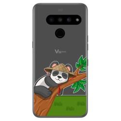 Funda Gel Transparente para Lg V50 ThinQ 5G diseño Panda Dibujos