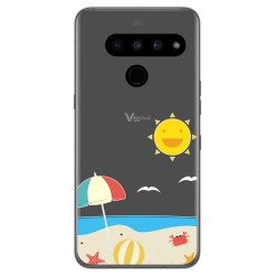 Funda Gel Transparente para Lg V50 ThinQ 5G diseño Playa Dibujos