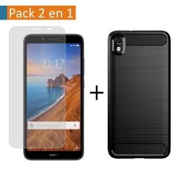 Pack 2 En 1 Funda Gel Tipo Carbono + Protector Cristal Templado para Xiaomi Redmi 7A