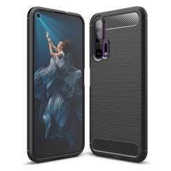 Funda Gel Tpu Tipo Carbon Negra para Huawei Honor 20 Pro