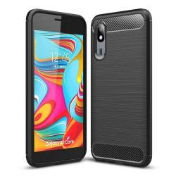 Funda Gel Tpu Tipo Carbon Negra para Samsung Galaxy A2 Core