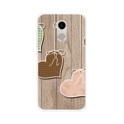 Funda Gel Tpu para Xiaomi Redmi 4 Pro Diseño Corazones Madera Dibujos