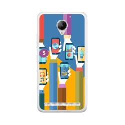 Funda Gel Tpu para Lenovo Moto C2 Diseño Apps Dibujos