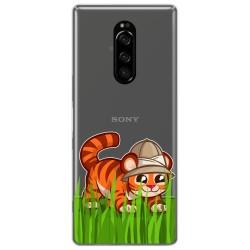 Funda Gel Transparente para Sony Xperia 1 diseño Tigre Dibujos