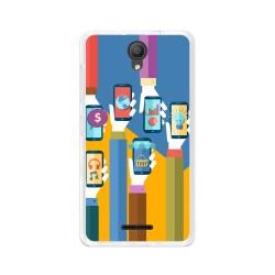 "Funda Gel Tpu para Alcatel Pixi 4 (5"") 3G Diseño Apps Dibujos"